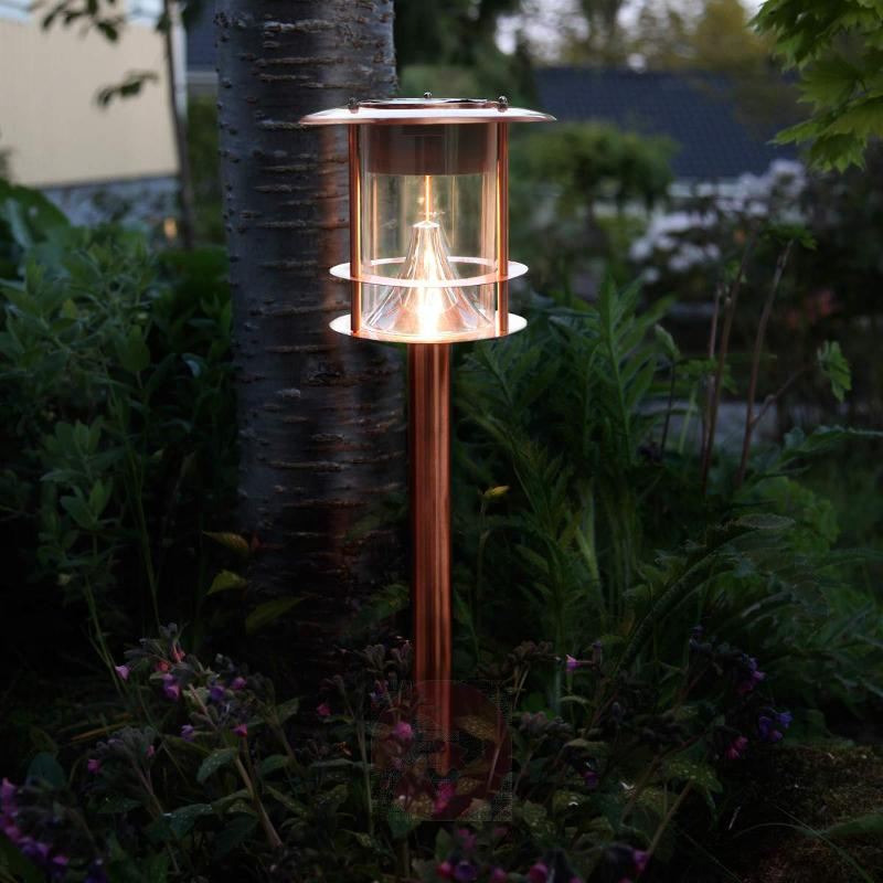 Copper-coloured solar path light Juno with LEDs - Pillar Lights