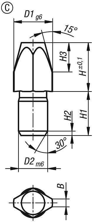 Locating Pin Ceramic Similar To Din 6321 - Rest pads and positioning feet