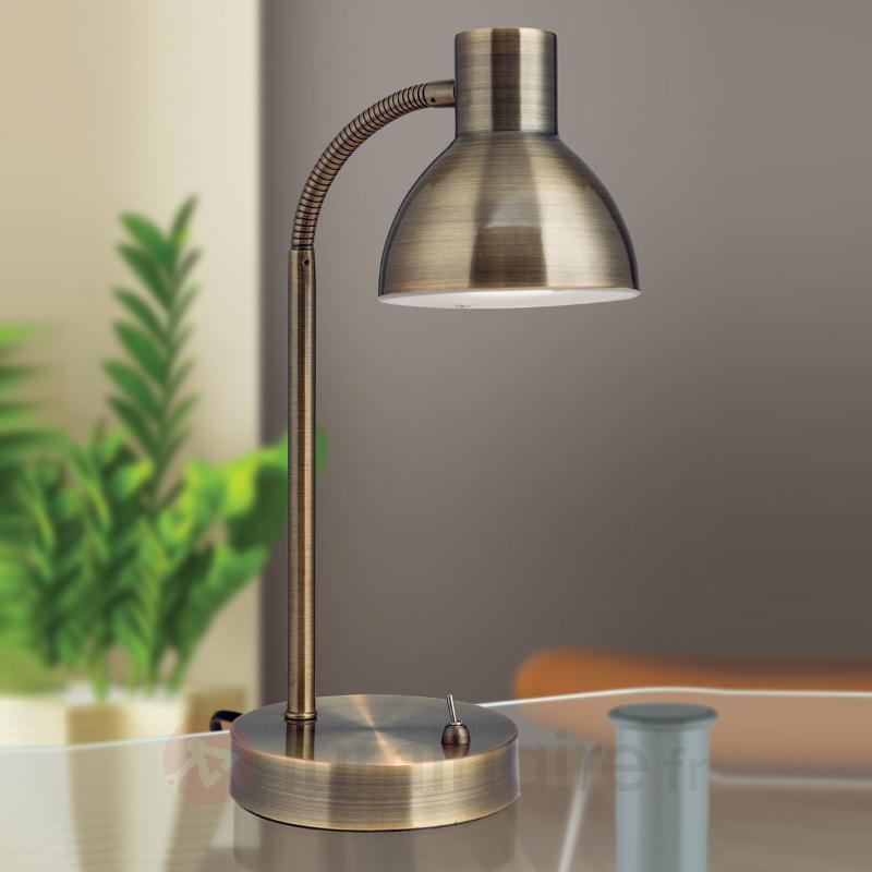 Lampe de bureau LED classique Isra laiton ancien - Lampes de bureau LED