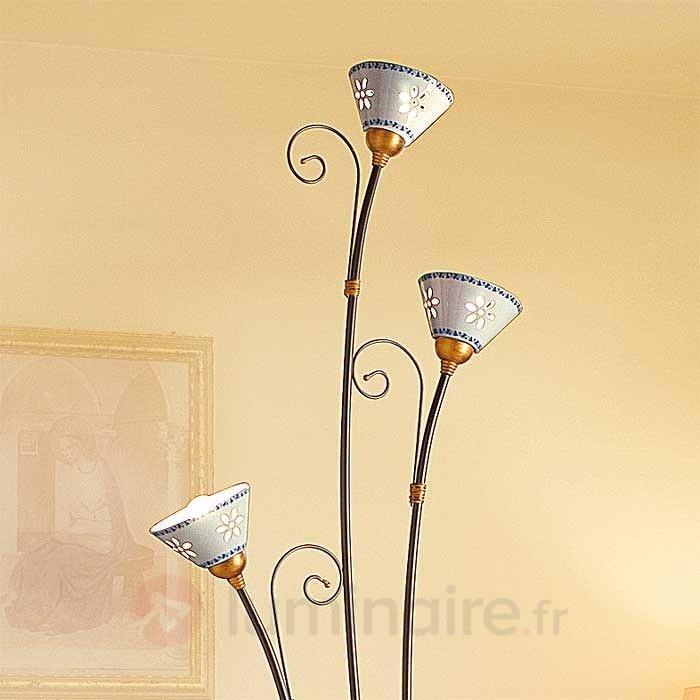 Lampadaire céramique à 3 lampes LIBERTY - Lampadaires rustiques