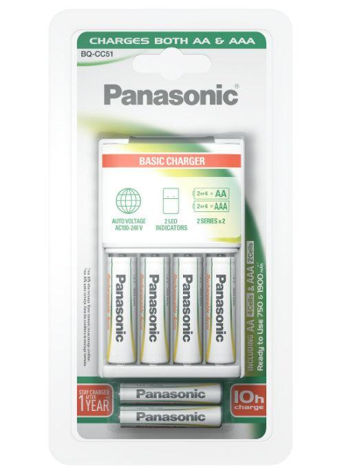 Caricabatterie portatile + 4 stilo e 2 ministilo - K-KJ51MGD42E | Caricatore di base Panasonic per batterie ricaricabili