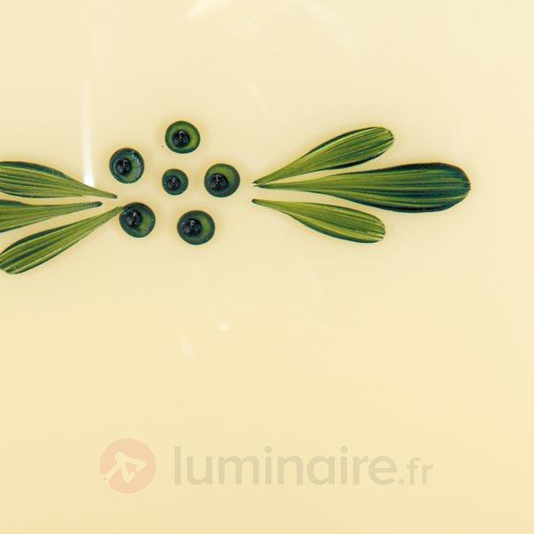 Plafonnier rond Nilay en verre décoré délicatement - Plafonniers en verre