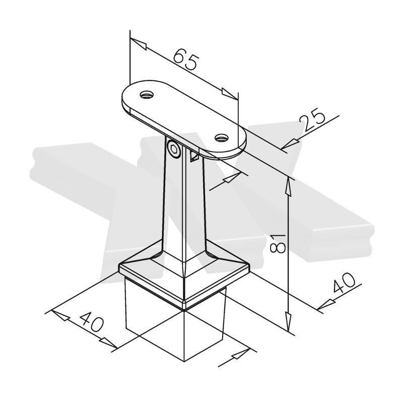 Handrail bracket for post 40x40 mm, flexible - Handrail brackets