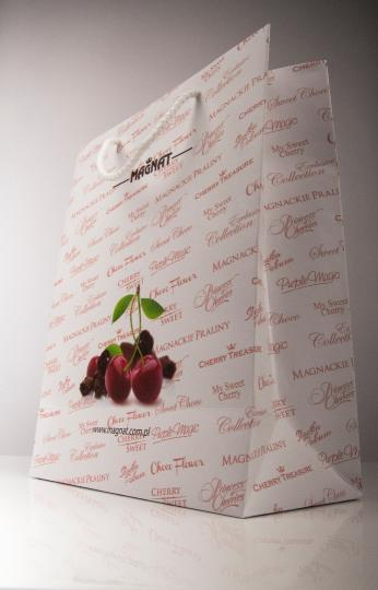 Handmade paper bag with offset printing -