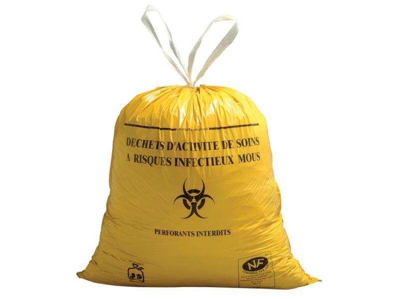 Sac poubelle jaune spécial hôpital 20L 19µ rouleau 25... - Equipement des locaux