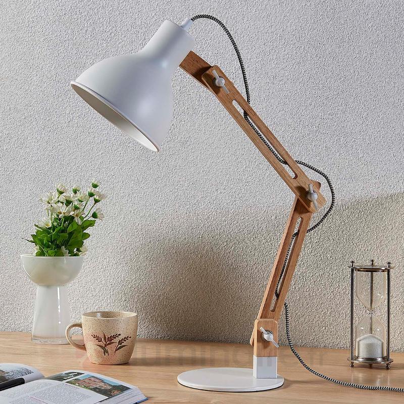 Lampe de bureau en bois Shivanja, abat-jour blanc - Lampes de bureau