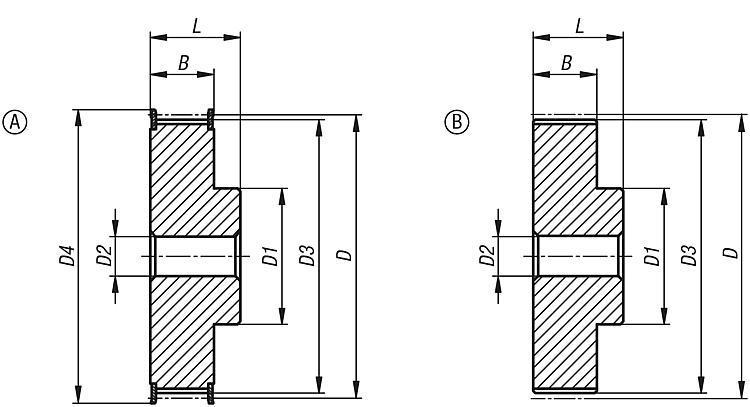 Toothed belt pulleys T profile - Toothed belt pulleys Splined shaft Timing belts