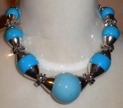 Collier grosse perles bleus -