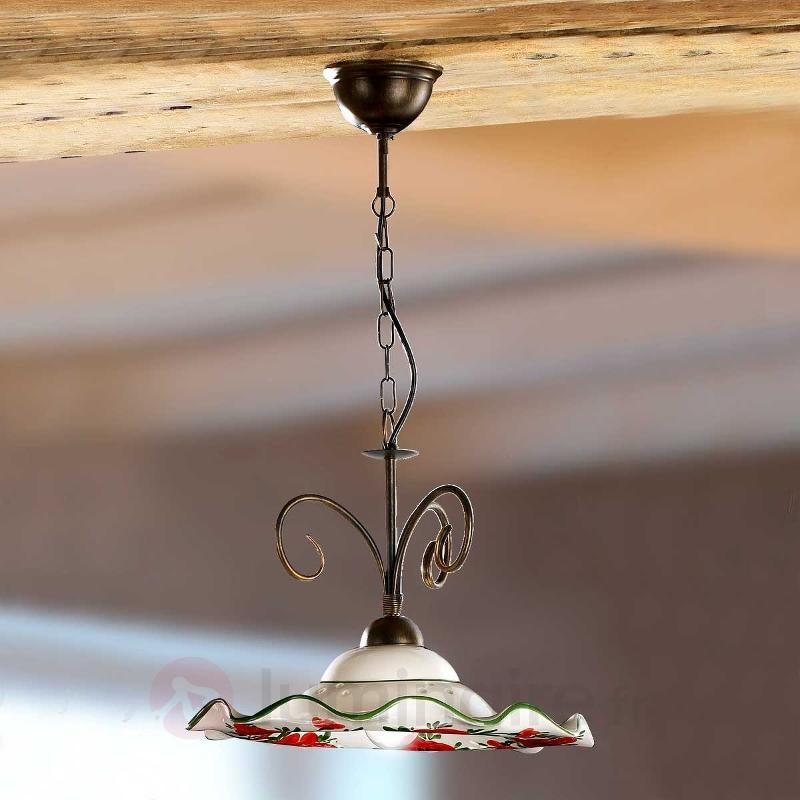 Belle suspension ROSOLACCI avec abat-jour en céram - Suspensions rustiques