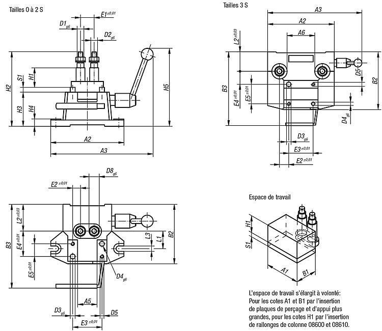 Montage de perçage, taille 0-3 S DIN 6348 extension de gamme - Dispositifs de perçage