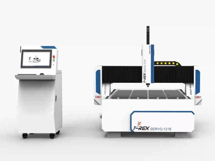 Fräse mit Servomotoren T-Rex Servo-1218 - CNC Portalfräsmaschine mit Zahnstangen, Stahlgestell und Faltenbelägen