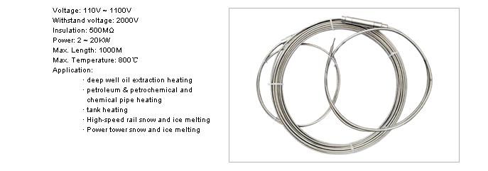 Anze High temperature armoured MI heating cables - Anze Mineral insulation heating cables Series