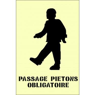 Pochoir marquage parking - Pochoir Passage Piéton Obligatoire en PVC réutilisable