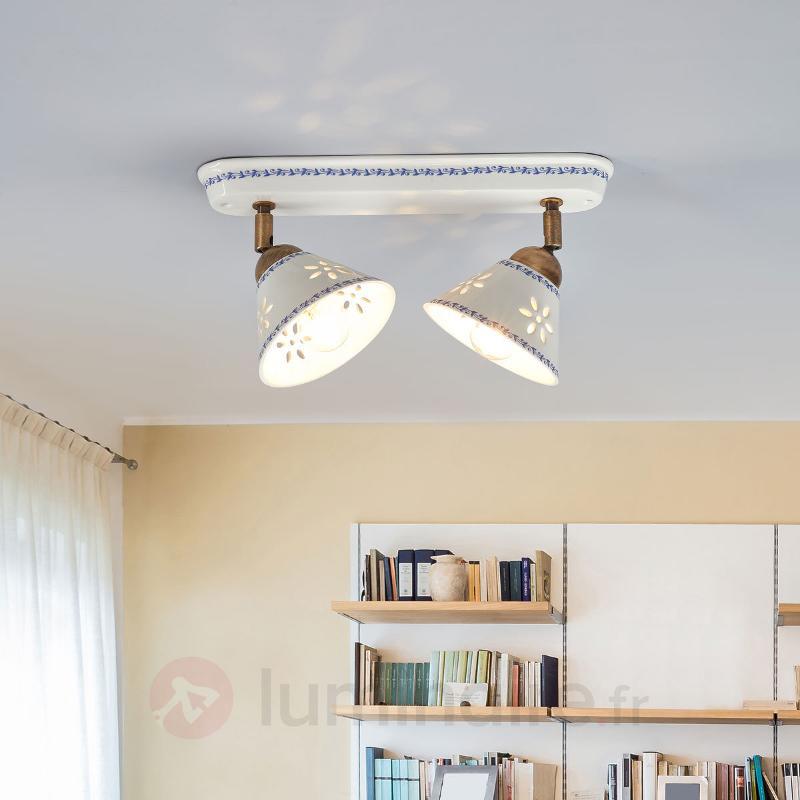 Applique à 2 lampes NONNA en céramique blanche - Appliques rustiques