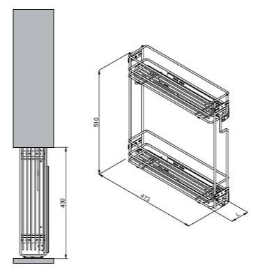 VIBO side double basket 150mm soft-closing right -
