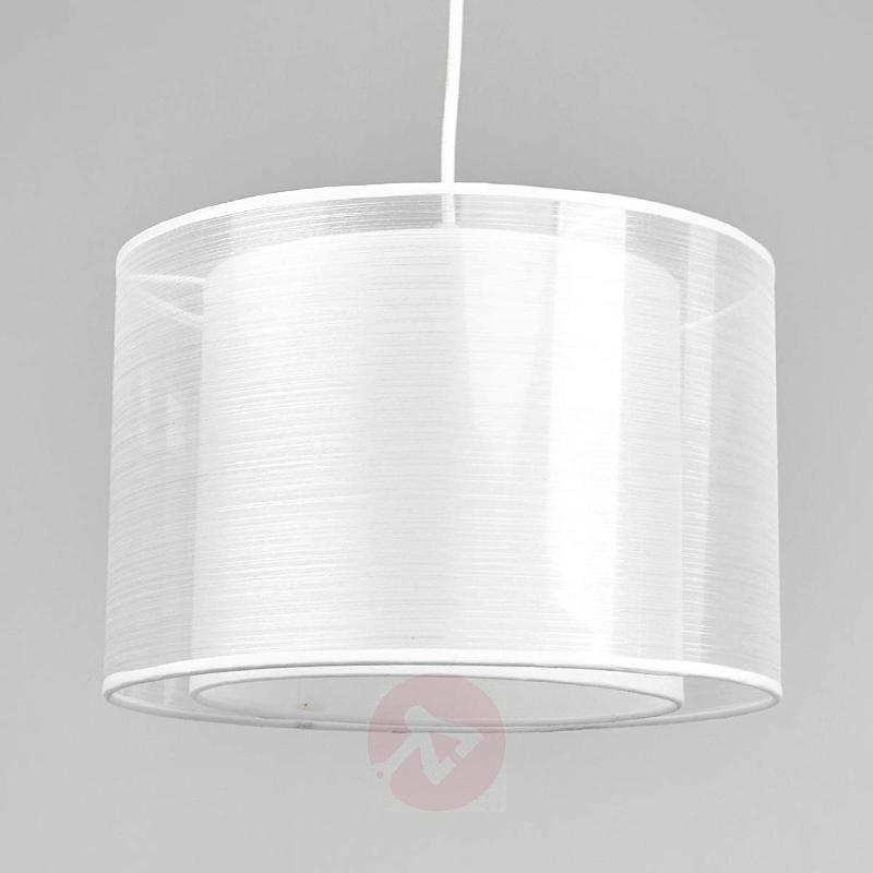 White fabric pendant light Jasna with an E27 LED - Pendant Lighting