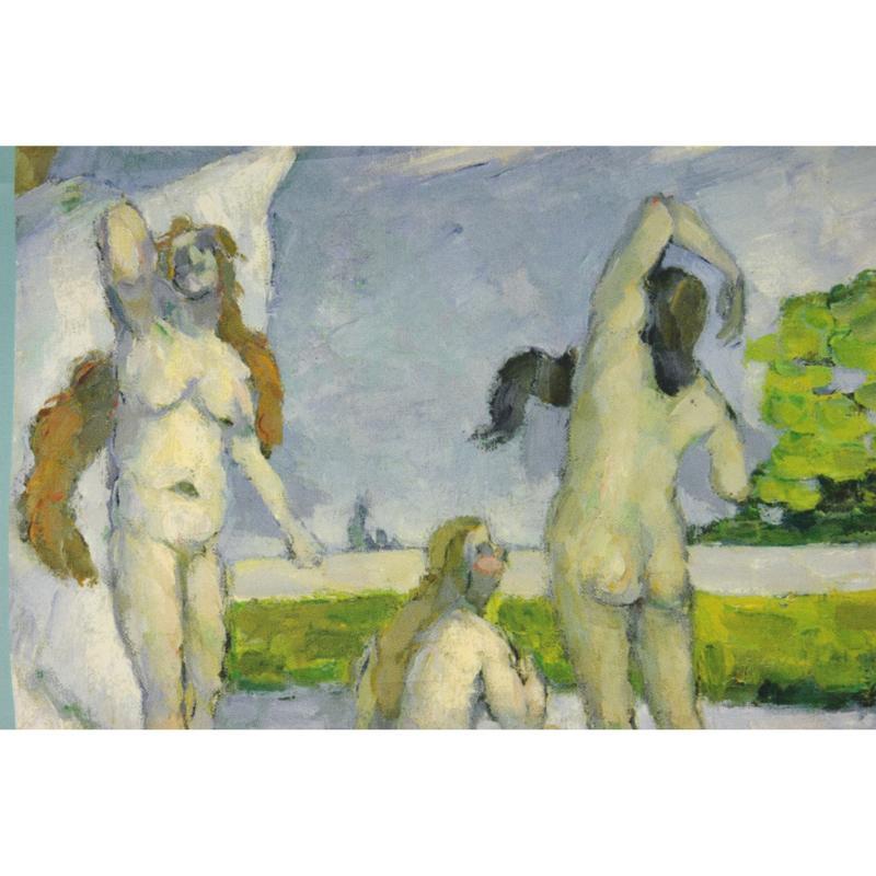 Petit Carré En Twill De Soie Imprimé Cézanne Baigneuse - Vert D'eau - LES GRANDS PEINTRES