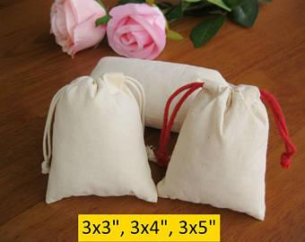 Custom Cotton Drawstring Pouch for Jewelry/Gift - Natural cotton Drawstring Bag - 5 X 4 Inch .