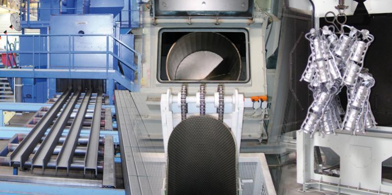 Satellite rotary table blast machine - Rotary table blast machines with table diameters ranging from 1100 mm to 2200 mm
