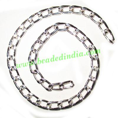 Silver Plated Metal Chain, size: 1.5x7mm, approx 13.8 meters - Silver Plated Metal Chain, size: 1.5x7mm, approx 13.8 meters in a Kg.