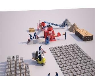 Станок по производству шлакоблоков - Полуавтоматическая Машина Prs 600 Мини Завод  Для Производства Стенового Камня