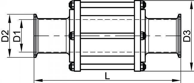63461 INDICATEUR DE CIRCULATION BOUTS CLAMP - RA = 0,8 µM Inox 316L - Accessoires de robinetterie CLAMP