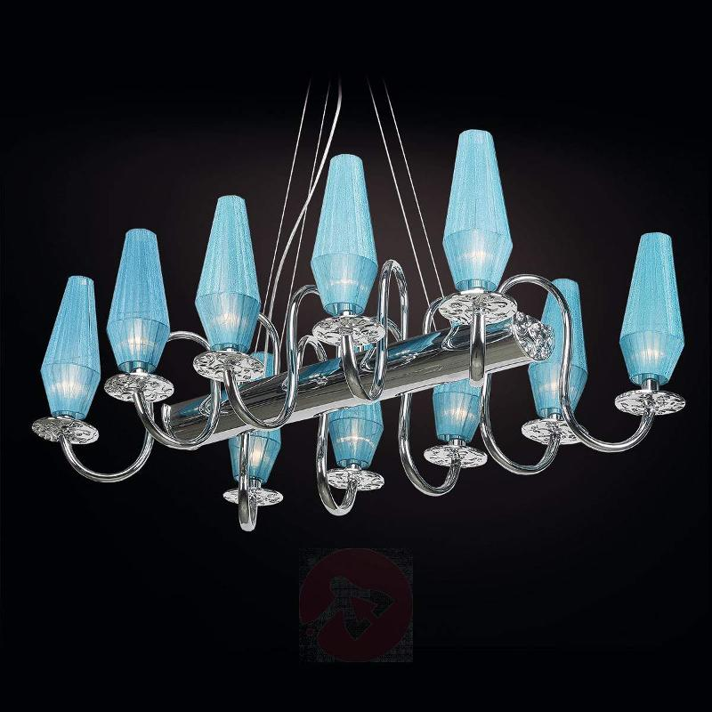 10-bulb chandelier Karma in turquoise - Chandeliers