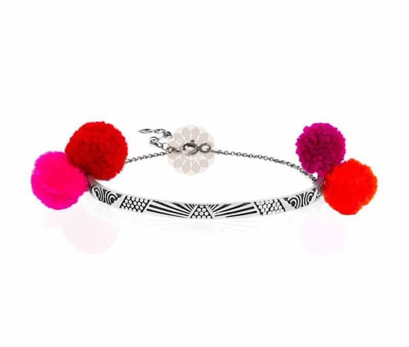 Red and Pink Pom Pom Anklet -