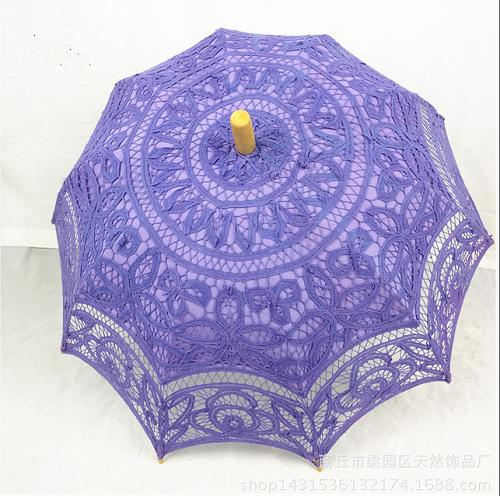Handcraft western-style court weddings,sun umbrella with lace macrame (purple) - Craft umbrella