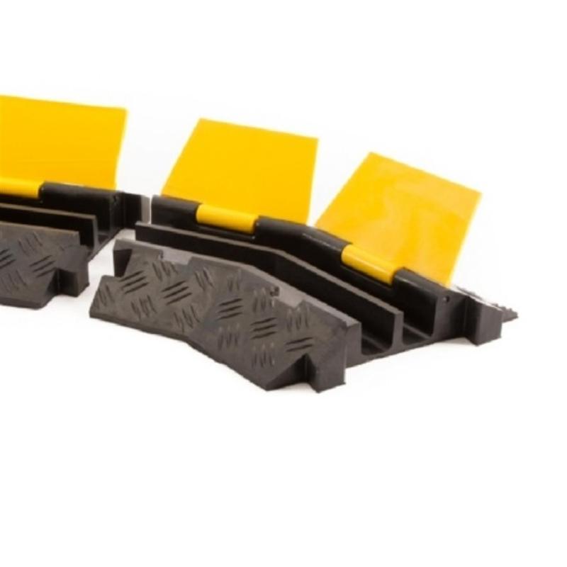 Kabelbrücke 2 Kanäle Bogenstück links schwarz/gelb 400x255x4 - Kabelschutz