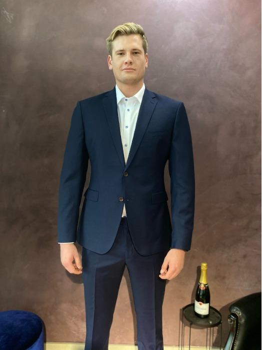 Bespoke Suit for 203cm long man, 120kg muscles. - High end quality - Blue Bespoke Suit - Super 130