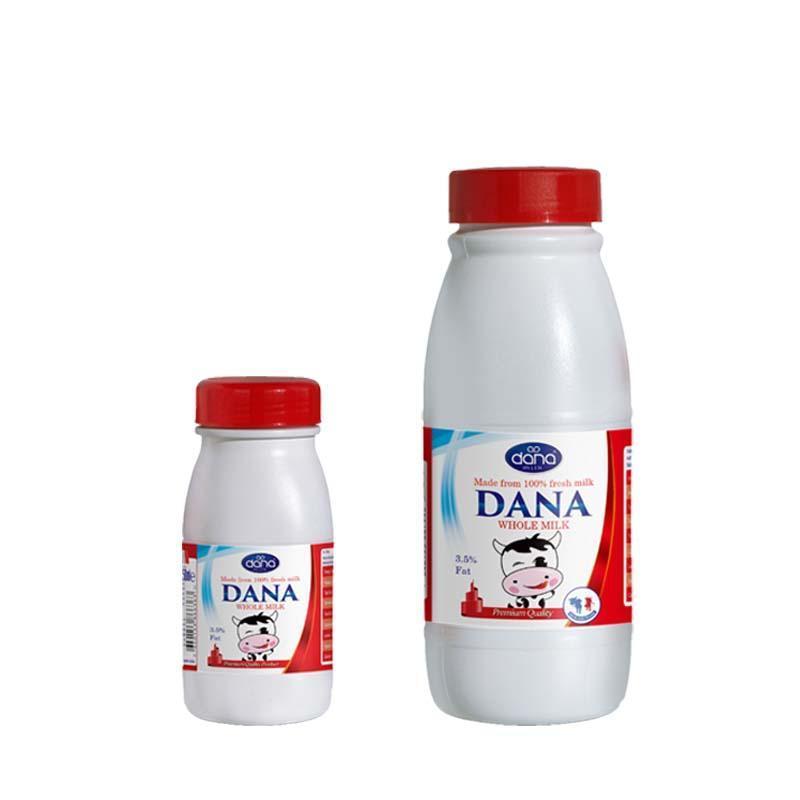 Leite DANA UHT em garrafas de plástico de polietileno - Leite UHT integral e leite UHT semidesnatado em Frascos de plástico de polietile