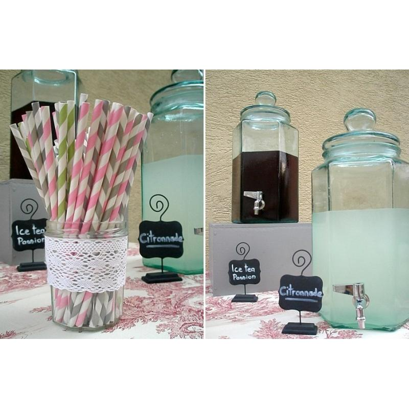 Hexagonal bottle 6.5 liters with tap - Glass beverage dispensers and candy jars