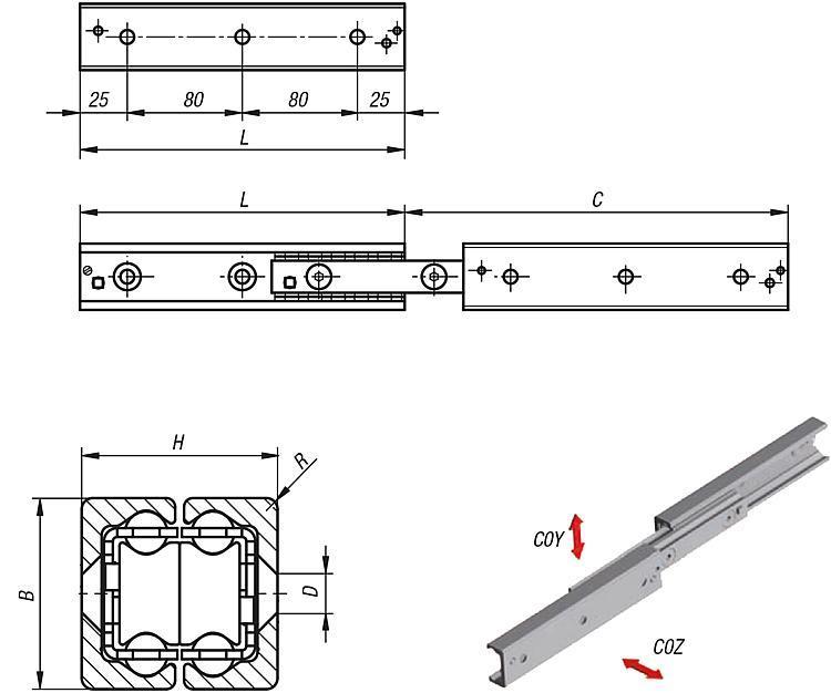 Rails télescopiques Disposition double - Rails de guidage à rouleaux