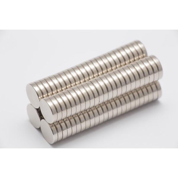 Neodymium disc magnet 10x2mm, N42, Ni-Cu-Ni, Nickel coated - Disc
