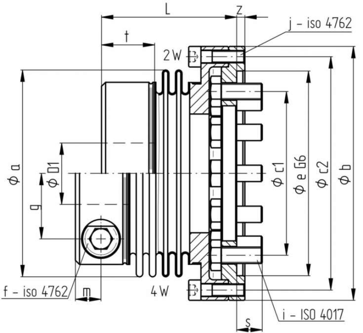 metal bellows coupling KGE - for standardized interface connection DIN - EN - ISO 9409 - 1