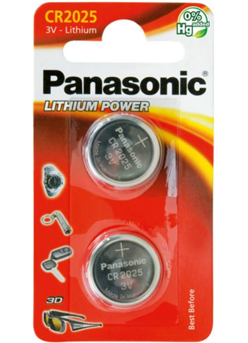 Batterie al litio a bottone CR2025 - CR-2025EL/2BP | Blister da 2 microbatterie specialistiche Panasonic