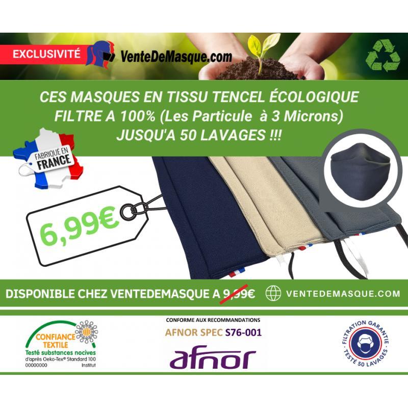 Masque Tissu Dga 50 Lavages Taupe (Préconisation Afnor) - null