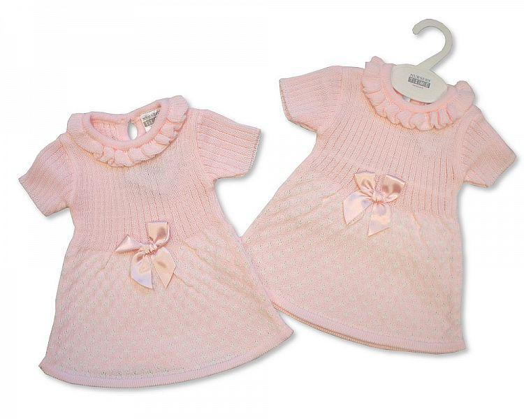 Spanish Style Knitted Baby Dress with Bow -