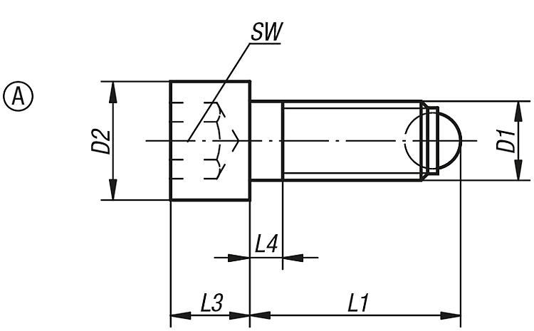 Ball-end thrust screws with head - Structural and supporting elements