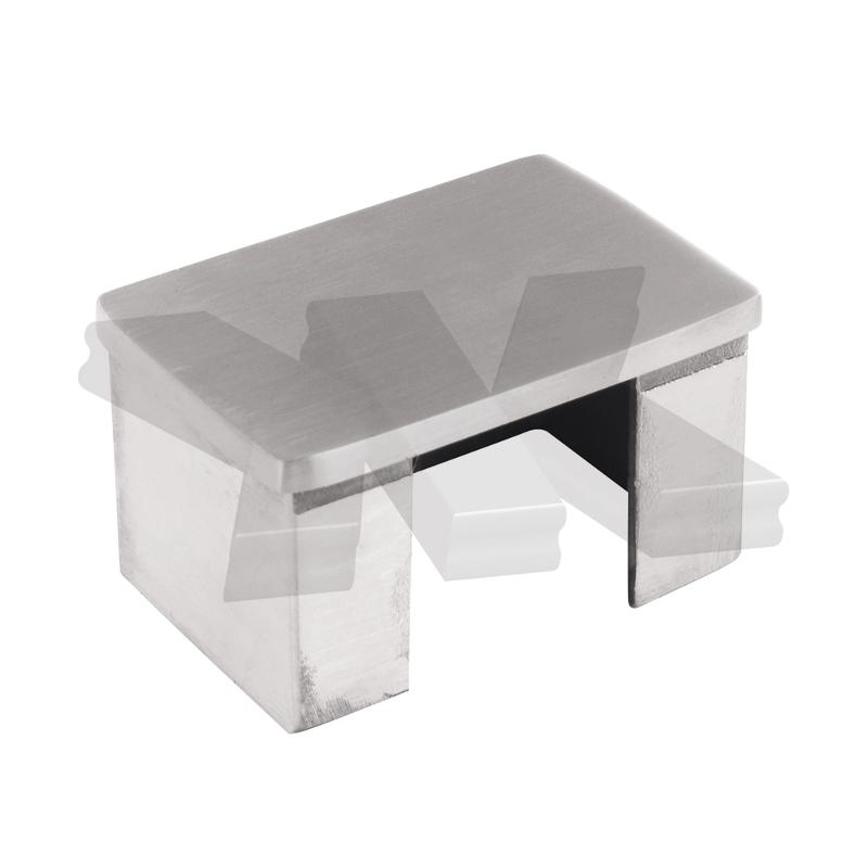 End cap flat 60x40 mm - Glass frame tubes stainless steel