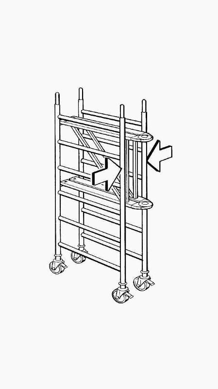 Echafaudages roulants aluminium - Réf : 6177 - Cadre articulé pliable en un tour de main