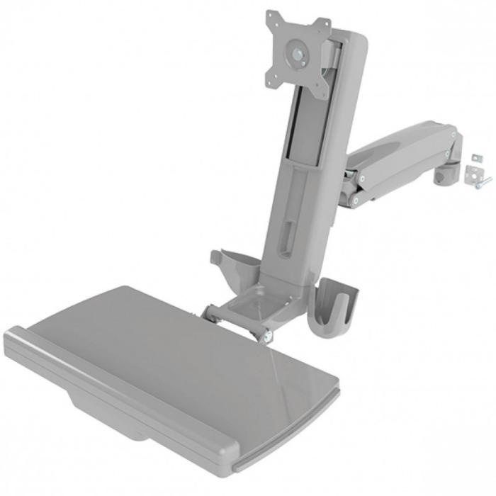 monitorarm work station incl. keyboard holder cable routing - monitors with 2 - 8 kg, mounting plate VESA MIS-D 75/100 compatible, adjustable