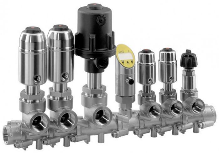 Modulares Verteilventil GEMÜ 553 - Das modulare Verteilventil besteht aus verschiedenen Sitzventil - Modulen.