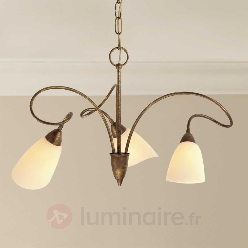 Suspension rustique Alessandro à 3 lampes - Suspensions rustiques