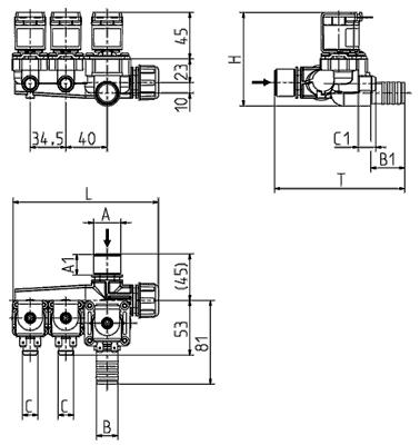 Servo-controlled solenoid valve NC, three- / fourfold,... - 15.017.x25