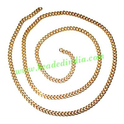 Gold Plated Metal Chain, size: 1x3.5mm, approx 39.2 meters i - Gold Plated Metal Chain, size: 1x3.5mm, approx 39.2 meters in a Kg.