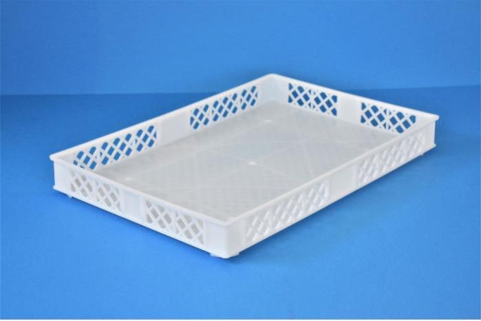 Caixas de plástico empilhável - Tabuleiro fundo fechado e lados gradeados