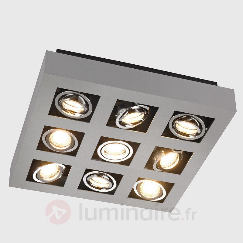 Plafonnier LED Vince carré, à 9 lampes - Plafonniers LED