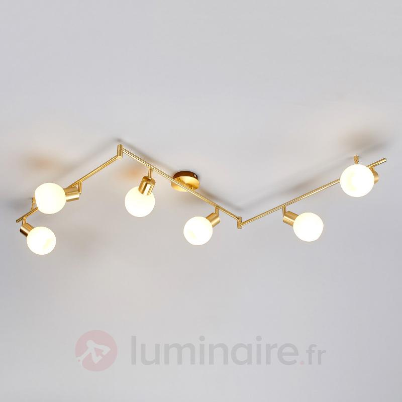 Plafonnier LED Elaina à 6 lampes, laiton - Plafonniers LED